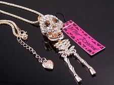 Betsey Johnson shiny crystal skull skeleton pendant Necklace # F306M