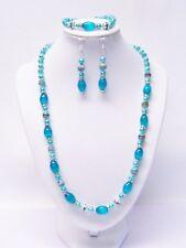 Oval Aqua Cats Eye Glass w/Rondelle Rhinestone Bead Necklace/Bracelet/Earrings