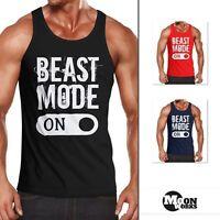 Herren Tanktop Beast Mode On Bodybuilder Fitness Gym Muskelshirt Moonworks®