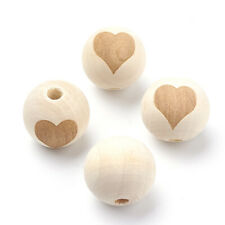 20pcs Natural Round with Heart Wood Beads OldLace Wooden Ball DIY Accessories