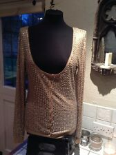 Diab'less Beige Cardigan With Silver Sequins Low Scoop Neck UK 6/8