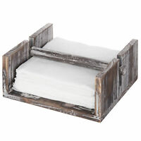 MyGift Torched Wood Napkin Holder Tray with Center Bar Weighted Arm