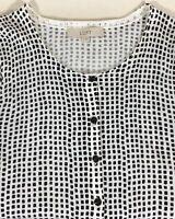 Ann Taylor loft size medium cardigan sweater black white check womens 3/4 sleeve