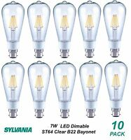 10 x Dimmable LED 7W Vintage Edison Clear Filament Light Globes Bulbs ST64 B22