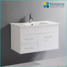 Bathroom Vanity White Wall Hung Ceramic Basin 900 NEW