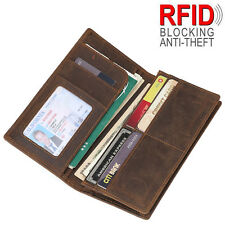 Retro Luxury Men's Leather RFID Long Wallet Bifold Card Coin Holder Ticket Purse