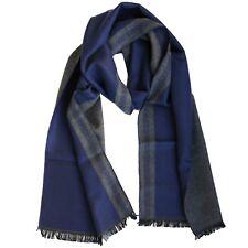 Bufanda Para Hombre Con Diseño Griego Azul Gris Bicolor Pañuelo Cuadros Rayas XL