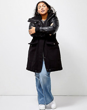 LANE BRYANT Parka Jacket Plus 14/16 with Faux Leather Sleeves 6TH & LANE 1x