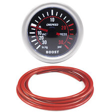 52mm CN-1 Smoked Turbo Boost Gauge -30 to 30 Psi With Red Silicone Hose