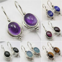 925 Sterling Silver Genuine Gemstones Earrings ! Affordable Wedding Jewelry NEW