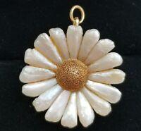 Crossman & Co Art Nouveau 14k Gold Natural River Pearl Flower Pendant Pin