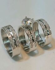 Hers Engagement and Wedding Rings Set 14K White Gold 3 pcs His &