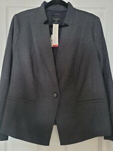 NWT Talbots Gorgeous Gray  Italian Flannel Wool Lined Blazer Jacket $219 14W