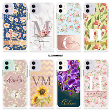 PERSONALISED NAME PHONE CASE FLORAL INITIALS GIFT COVER FOR APPLE IPHONE 8 11 XR