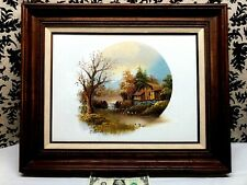 Vintage Artist Signed Oil on Canvas Scenic CountrySide CABIN AND RIVER PAINTING