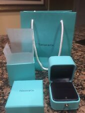 Tiffany & Co Presentation Blue Leather Ring Box, Outer Case, Bag All Brand New