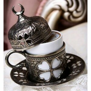 Turkish Coffee Cup for 1 Person ( Copper Silver Gold Antique) Made in Turkey