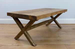 New Solid Wood Coffee Table Cross Leg Farmhouse Chunky, Handmade.