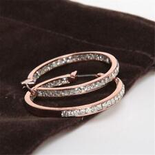 Michael Kors Rose Gold Tone Hoop Pave Set Earrings