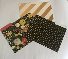 3 Decorative File Folders Gold Foil Embellished Floral Polka Dots Stripes