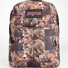 JanSport Superbreak Backpack Day Bag School Pack Black Label Multi Grizzly Bear