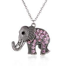 Fashion Pink Crystal Rhinestone Elephant Pendant Necklace Sweater Chain Jewelry