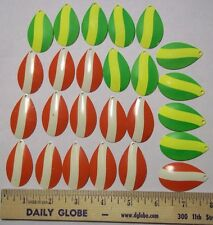 25-INDIANA STRIPED SPINNER BLADES  #7/Bass/Muskie/Lure/Tackle Making