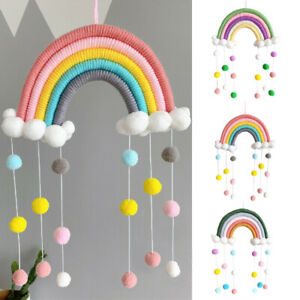 PomPom Rainbow Tapestry Clouds Macrame Woven Wall Hanging Decor Photo Props*