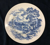 """Wedgwood Countryside Blue and White Dinner Plate 9 7/8"""" Made in England"""