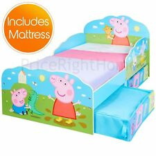 OFFICIAL PEPPA PIG TODDLER BED WITH STORAGE JUNIOR BOYS GIRLS & FOAM MATTRESS
