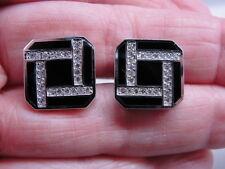 Striking Estate 14K White Gold Square Cufflinks w/Black Onyx & Diamond Design