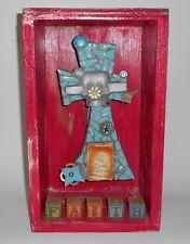 Good Shepherd Folk Art Cross Shrine Mixed Media Assemblage Sculpture Faith Pink