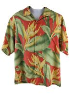 Tommy Bahama 100% Silk Hawaiian Shirt Men's Large Red Floral Palm Relax