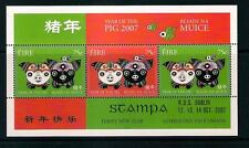 Ireland Eire stamps - 2007 Year of the Pig Minisheet, Stampa Overprint, MNH