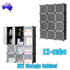 DIY 12 Cube Storage Cabinet Wardrobe Shoe Rack Shelf Portable Compartment Boxes