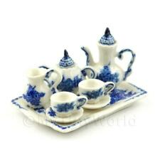 Very Fine 6 Piece Blue And White Dolls House Miniature Coffee Set