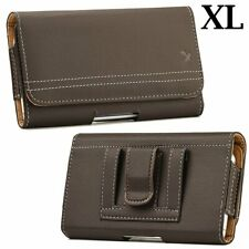 for XL LARGE Phones - Brown PU Leather Pouch Holder Belt Clip Holster Case Cover