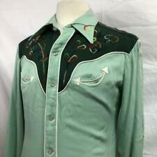 Vintage 50S H Bar C Gabardine Rayon Embroidered Green Westerns Shirt M Rainbow