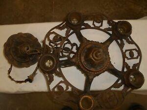 Vintage Antique Deco Style 5 Light Cast Iron Chandelier