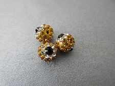 Yellow Rhinestone Eyes Spacer Beads 3pcs