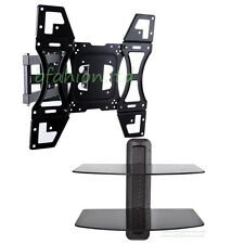 """UNHO TV Wall Mount Bracket for 22"""" TV's up to 52"""" TV's with Twin Floating Shelf"""