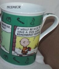Danbury Peanuts Snoopy calendar December cups mugs coffee tea hot chocolate