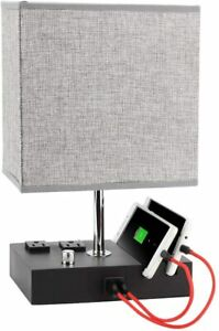 Table Lamp with USB Port, Bedside lamp for Bedroom Warm White Bulb