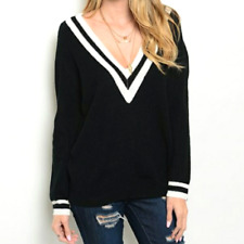 Womens Casting LA Pullover Black White Knit V-neck Sweater SMALL