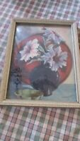 Mid Century Petunia Flowers Print Convex Bubble Glass Reverse Painting Lockhardt