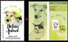 18-02 BRAZIL 2018 ANIMAL DEFENSE, DOG, CAT, DOMESTIC ANIMALS, MNH + EDICT