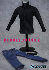 "1/6 Clothes Men Black Long Sleeves Shirt Blue Jeans For 12"" Figure SHIP FROM USA"