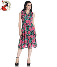 HELL BUNNY EDEN tea DRESS PINK ROSE floral 40s style PUSSY BOW XS-4XL