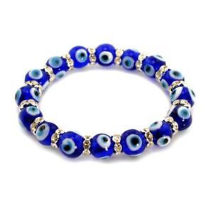 EVIL EYE BRACELET 10mm Glass Bead Blue Stretch Good Luck Protection Lampwork NEW