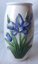 "Blue Purple Iris On Ceramic Vase 9.5"""